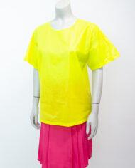 Elisabeth de Senneville top neon geel kunststof jaren 80