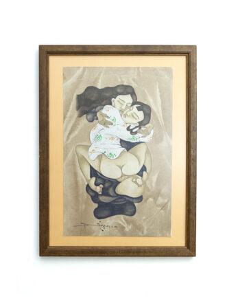 Erotische Japanse Shunga print in vintage houten lijst