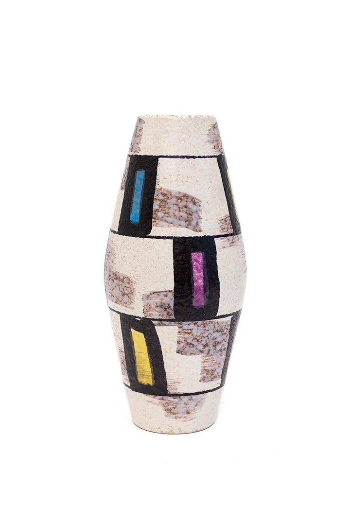 Fifties vaas met patroon van gekleurde rechthoeken Bay 507-25