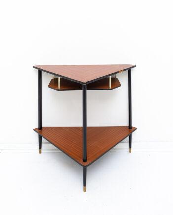 Frans vintage hoektafeltje / tv-meubel donkerbruin fineer