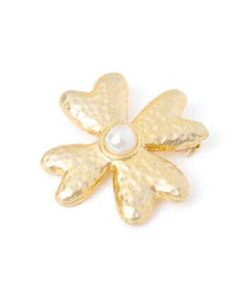 Franse broche bloem met imitatie parel vintage