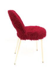 Franse vintage stoelen kersenrood furry met messing pootjes – set van 2