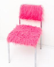 Furry stoel met verchroomd buisframe neon roze