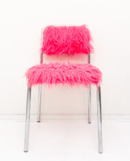 Furry stoel met verchroomd buisframe neon roze-3