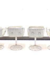 Draadstalen eettafel + stoelen in Gastone Rinaldi stijl chrome