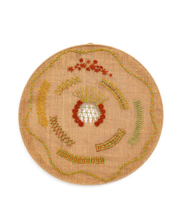 Geborduurd vintage wandornament van jute