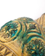 Geel groene vintage West Germany Bay 62-50 vaas / lampvoet met patronen