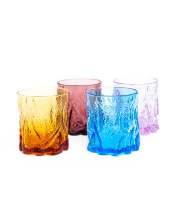 Gekleurde jaren 70 glazen met schors reliëf - set van 4