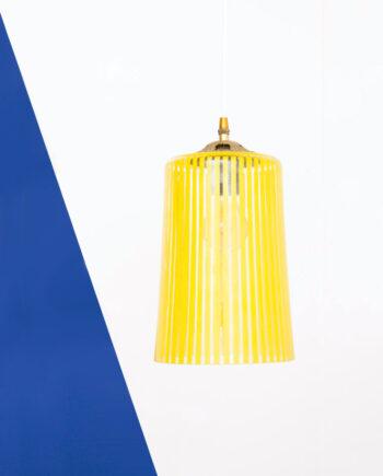 Gele gestreepte hanglamp glas vintage