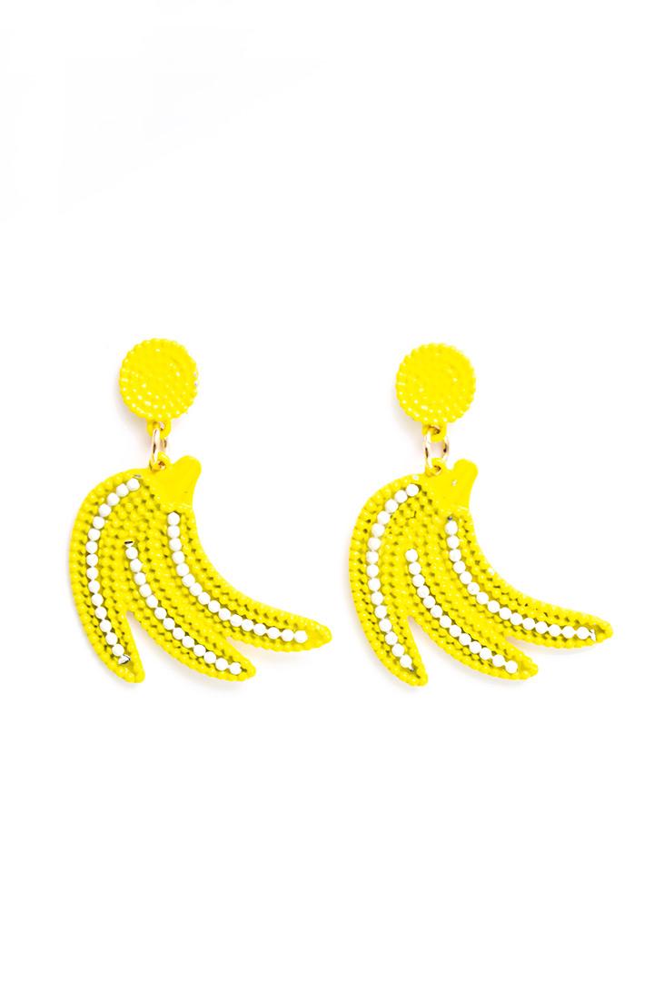 Gele oorbellen met bananen
