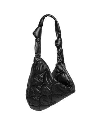 Gewatteerde puffer schoudertas zwart