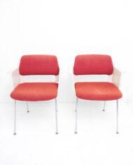 Gispen Cordemeyer 2215 stoel rood jaren 60 – set van 2