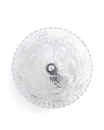 Glazen plafonnière rond met gegolfd patroon vintage