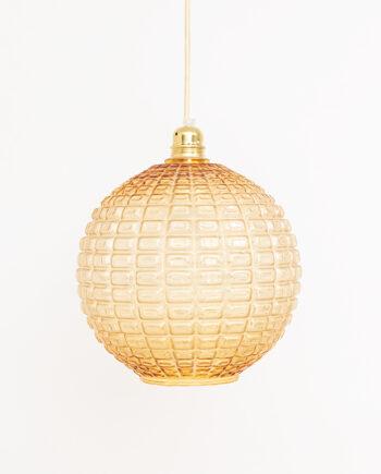 Globe hanglamp jaren 70 amberkleurig in Aloys F Gangkofner-stijl