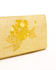 Goudkleurig Japans Nishijin enveloptasje met geborduurde bloem