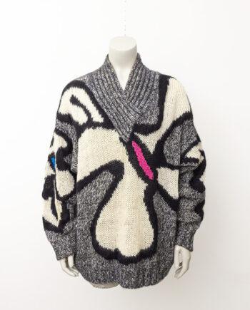 Grijze jaren 80 wollen trui mohair met gekleurde vlakken Thierry Mugler