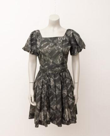Grijze vintage jurk met pofmouwtjes en ceintuur Jonathan Logan