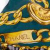 Groene Chanel zijden sjaal met print van chains vintage