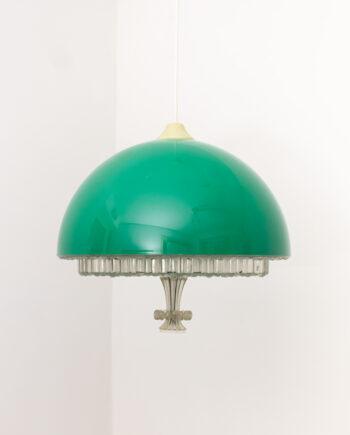 Groene vintage hanglamp met kunststof kap en glas-look onderzijde