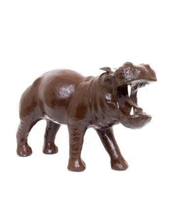 Groot antiek beeld nijlpaard van leer