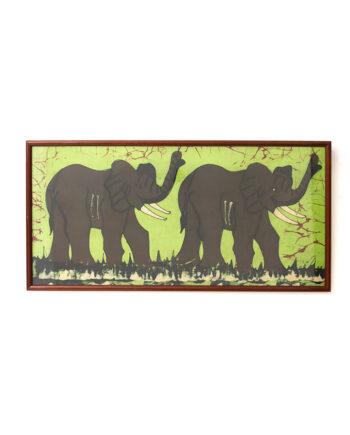 Groot vintage schilderij olifanten op doek batik