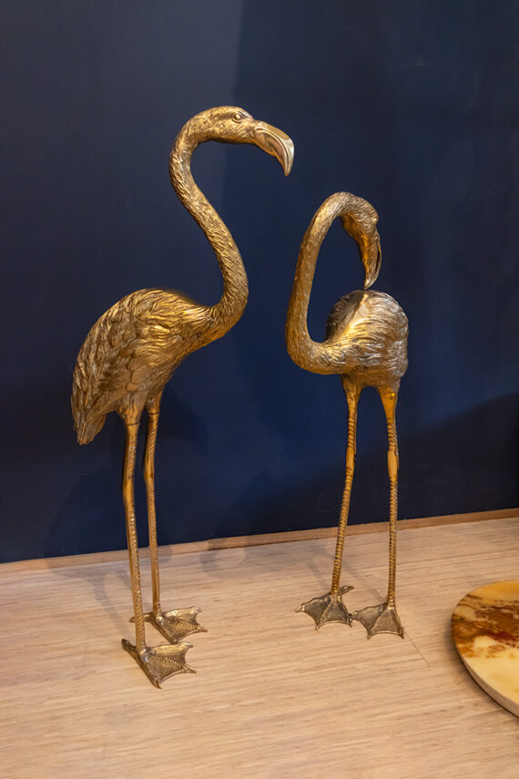 Grote messing flamingo's vintage - set van 2