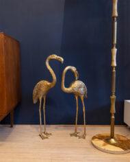 Grote messing flamingo's vintage – set van 2