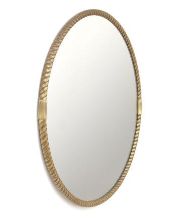 Grote ronde spiegel messing gedraaid koord