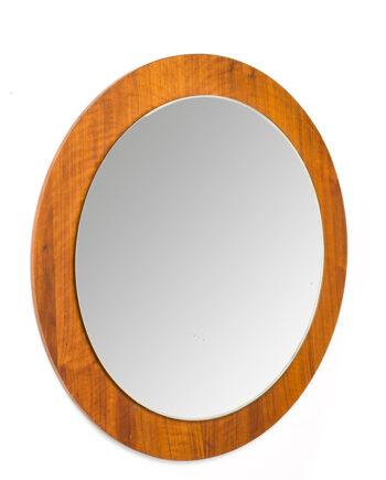 Grote ronde teak spiegel