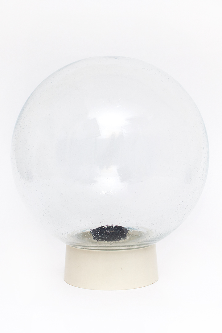 Grote vintage plafonnière glazen bol met luchtbelletjes
