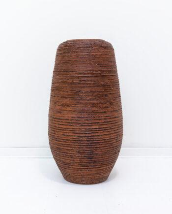 Grote vintage vaas van bruin aardewerk SPARA Schamotte Duitsland 650/54