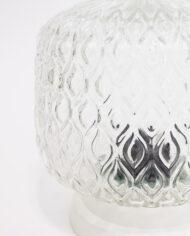 Hoge glazen plafonnière pauwenogen vintage