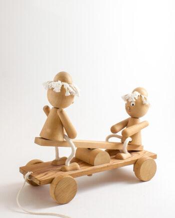 Houten trekfiguur op wielen Bill & Ben