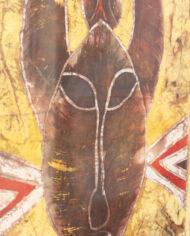 Ingelijste Indonesische batik doek bruin met kat en vogel