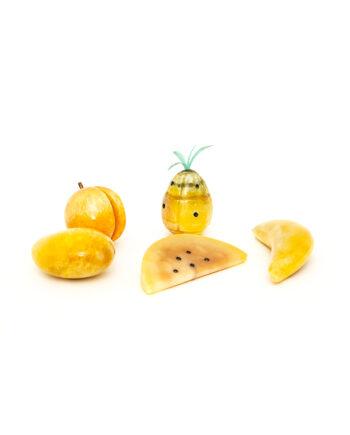 Italiaans albast fruit geel gemarmerd vintage - set van 5