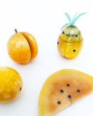 Italiaans albast fruit geel gemarmerd vintage – set van 5