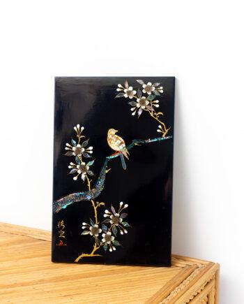 Japans houten paneel ingelegd met parelmoer vintage vogel en bloesem