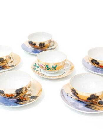 Japans servies kop en schotel 12-delig zalmroze porselein met print jaren 30