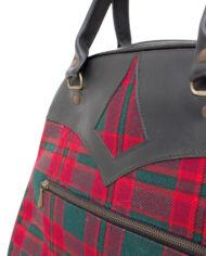 Jaren 60 handtas met rood en groen geruit patroon