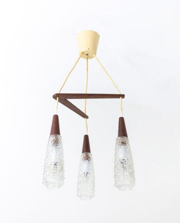Jaren 60 hanglamp met houten boemerang en 3 lichtbronnen Louis Kalff Philips stijl