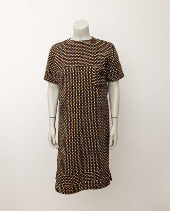 Jaren 60 wollen jurk met borstzakje zwart/bruin/wit