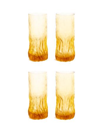 Jaren 70 longdrink glazen amberkleurig met schors reliëf - set van 4