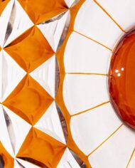 Jaren 70 schaal rond van glas met bruine ruiten
