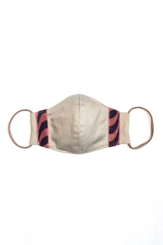 Katoenen mondkapje beige met roze strepen Liesbeth Sterkenburg unisex