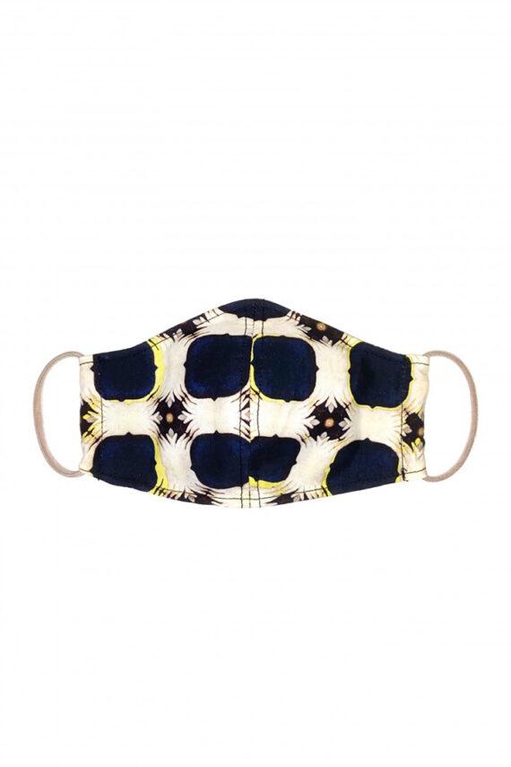 Katoenen mondkapje met beige en donkerblauw patroon Liesbeth Sterkenburg unisex