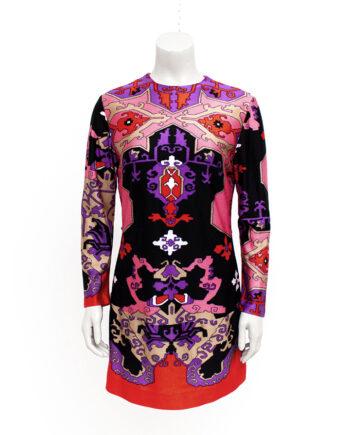 Jaren 60 mini jurkje met gekleurde geometrische print