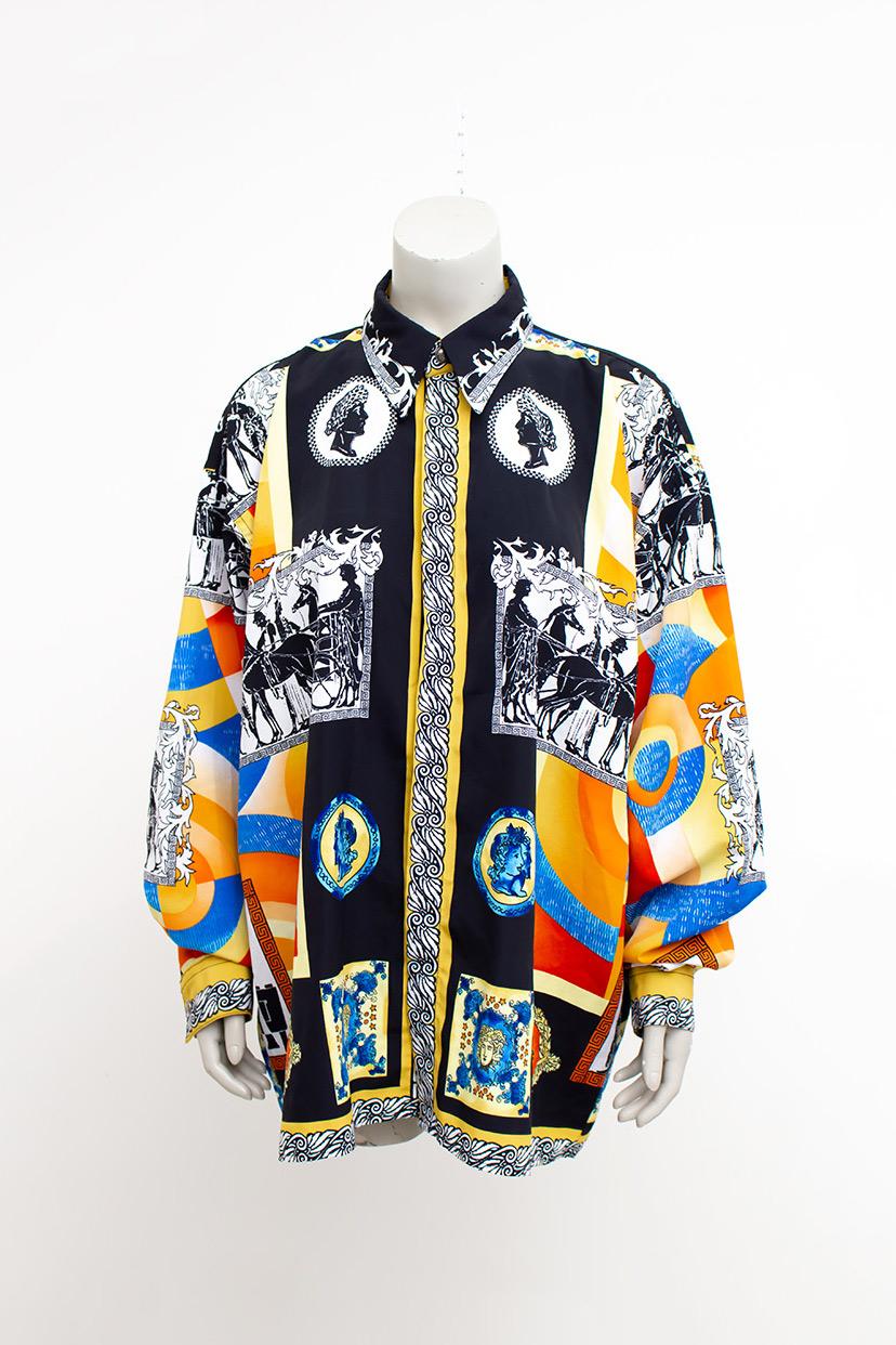 Vintage Armstrong zijden blouse met barok-print