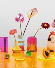 &Klevering origami vaas van metaal geel