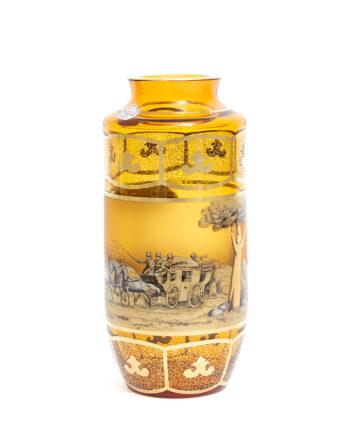 Kristalglas vaas vintage met goudkleurig getekend landschap