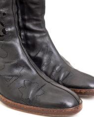 Laarzen Dries van Noten zwart leer met geperforeerde bloemen – maat 36,5